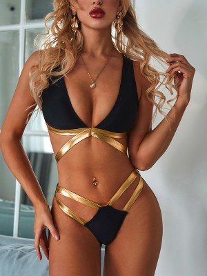 Invigorative Black Deep-V Neck Bikini High Cut Backless Chic Trend