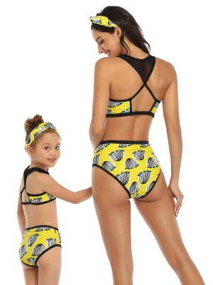 Summer Glow Yellow Mesh Patchwork Mommy Daughter Swimwear Adult