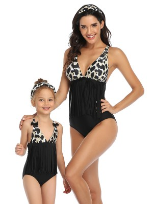 Ultra Black Mother Daughter Swimsuits With Tassel Svelte Style
