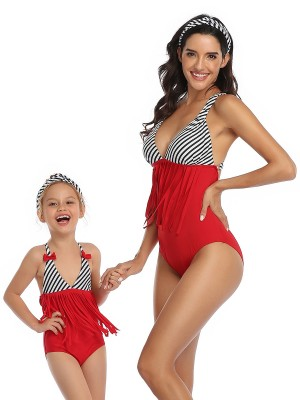 Astonishing Red Stripe Printed Family One-Piece Swimsuit Online Wholesale