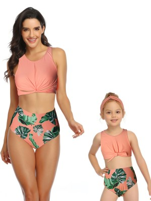 Big Bust Orange Two-Piece Twisted Mother And Girl Swimwear For Seaside Days