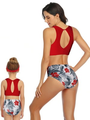Stunning Red High Rise Two Pieces Family Bathing Suit Going Out Outfits