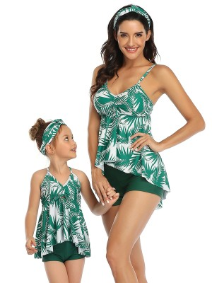 Unique Green Family Open Back Swimsuit High-Low Hem Elasticity