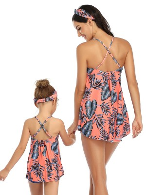 Cutie Pink Ruched Mother And Girls Swimsuit Sling Forward