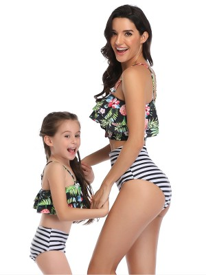 Multicolored Green 2 Pieces Mom Girl Swimwear Flower Pattern Holiday