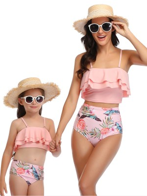 Glossy Pink Floral Print Mother Daughter Beachwear For Women