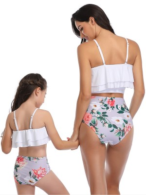 Stretch White High Waisted Family Bathing Suit Two-Piece Cheap Wholesale
