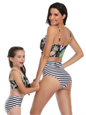 Cool Black Ruched Family Swimwear Open Back Sling Natural Fit