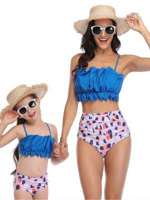 Chic Blue Mother And Girls Ruched Sling Swimsuits Wedding Trip