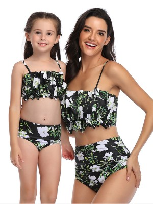 Flawlessly Green Mommy and Me High Waisted Swimsuits Wrinkle Fashion