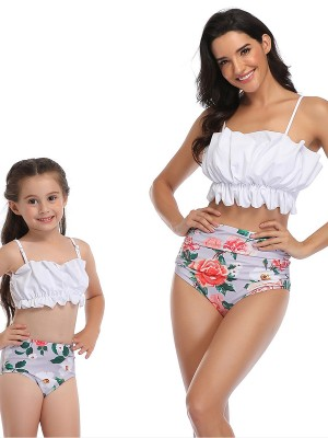 Enthusiastic White Mother Girl 2 Pieces High Rise Floral Print Fashion Style