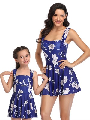 Glam Blue High Rise Mother Kid Swimsuit Floral Paint Understated Design