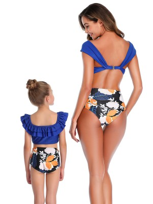 Favorite Purplish Blue Floral Print Mother Kid Swimsuit For Trip