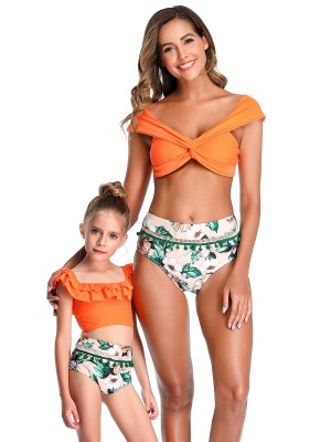 Charming Orange Mom Kid Swimwear High Waist For Girl