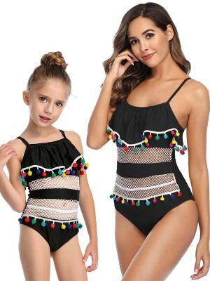 Interesting Black Strap High Cut Mom Daughter Swimsuit Natural Outfit