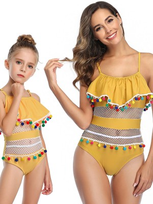 Exotic Paradise Yellow Pompon One Piece Beachwear Grid Elasticity