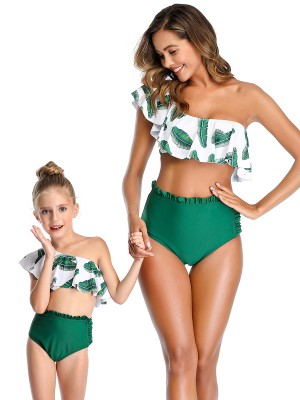 Beach Honeymoon Green Ruffle Trim Mother Kid Beachwear Summer Women
