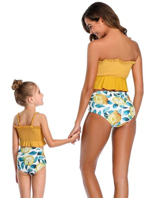 Fresh Yellow Pleated Family Swimwear High Rise Casual Women