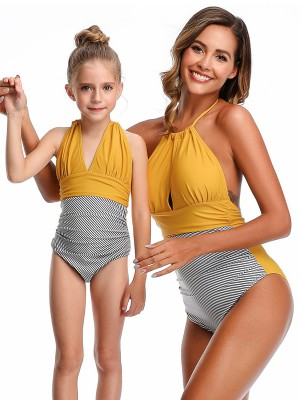 Attactive Yellow Halter Neck One Piece Swimsuit Ultra Cheap