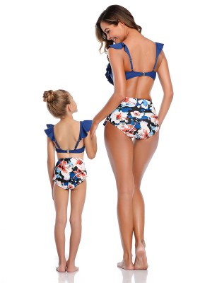 Glaring Purplish Blue Flower Paint Mom Girl Swimwear Wireless