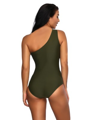Desirable Blackish Green One Piece Swimwear Mesh Patchwork