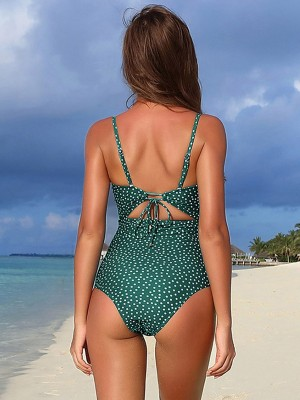 Staple Green Hollow Out Beachwear Polka Dots Elastic Material
