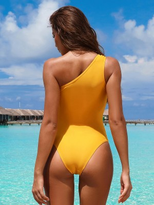 Yellow Monokini Solid Color High Cut Leg Understated Design