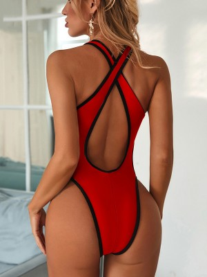 Naughty Red Cross Back Swimsuit Hollow Out Deep-V Poolside Party