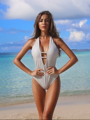 Glorious White Bronzing 1 Piece Swimwear Open Back Fashion
