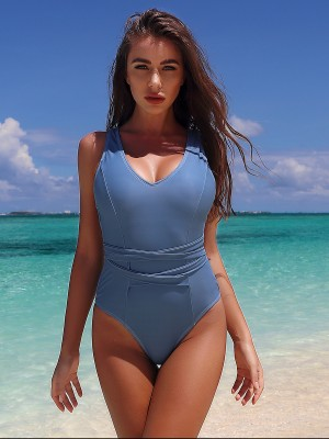 Dazzling Blue Tie Back 1-Piece Swimsuit High Cut Garment