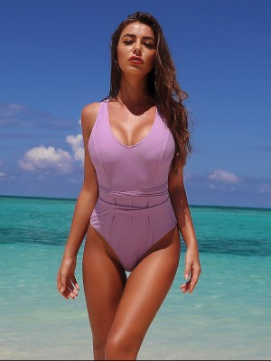 Ultra Cheap Purple Back Cross Strap One-Piece Swimwear