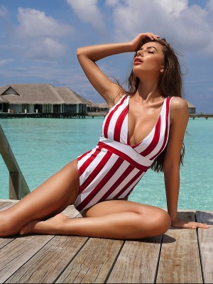 Unique Red Stripe Print Swimwear Deep V Neck All-Match Style