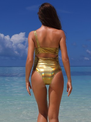 Push Up Gold One-Piece Swimsuit Single Shoulder Chic
