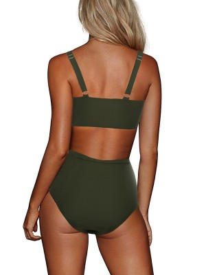 Poolside Blackish Green Hollow-Out Bikini Adjustable Strap