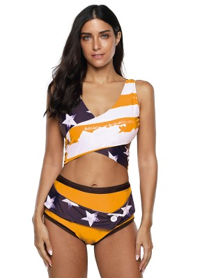 Graceful Orange Patchwork Bikini High Rise Plus Size