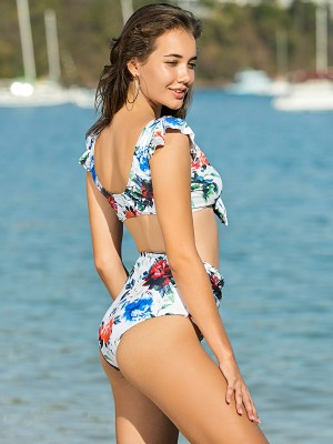 Stretch Floral Print Bikini Wire-free Ruched Adult