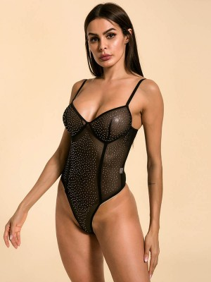 Pretty Black Rhinestone Sheer Mesh Perspective Teddy Honeymoon Midnight