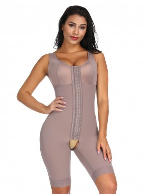 Brown Queen Size Full Body Shaper With Open Crotch Hourglass Figure