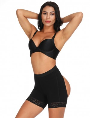 Streamlining Black Anti-Curling Butt Lifting Panty Lace Hemline Distinctive Look
