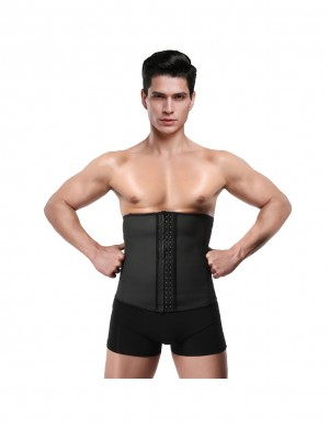 Must-Have Black Plus Size Men Latex Waist Trainer 3 Hooks Garment