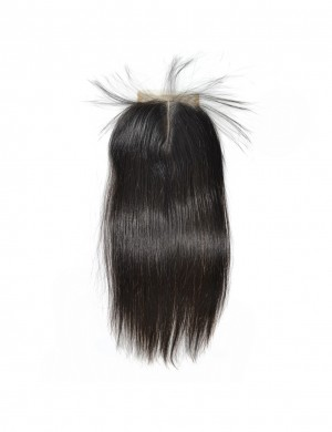 Middle Part 120% Density 1 Piece Human Hair Brazilian Straight Closure Swiss Lace