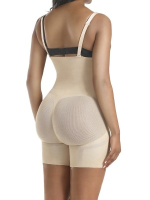 Firm Control Skin Color Full Body Shaper Sheer Mesh Button Tab