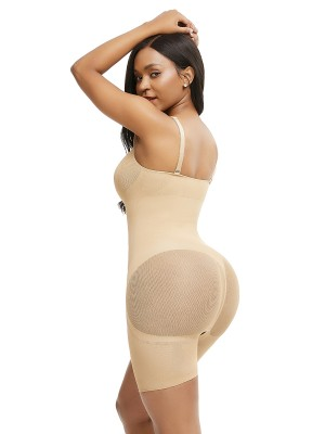 Breathe Freely Skin Color Adjustable Strap Plus Size Full Body Shaper Fitness