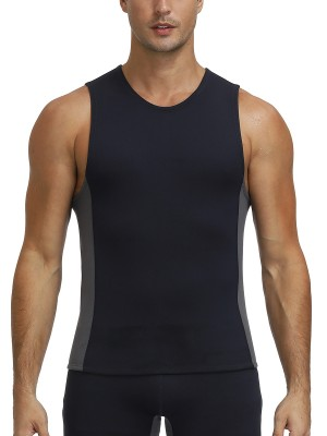 Undetectable Black Neoprene Vest Shaper Large Size Round Neck Abdominal Control