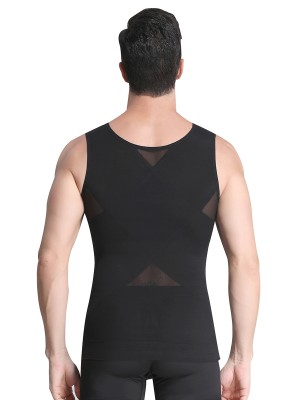 Flat Out Black Sheer Mesh Wide Straps Crossover Men's Tank Wrap Slimmer