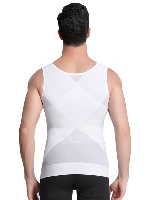 Ultra White Men's Tank Shaper Double Layers Sheer Mesh Back Support