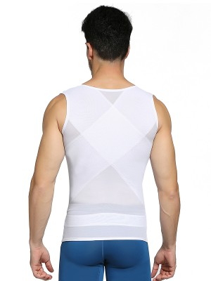 Spotlight White Crossover Back Mesh Wide Straps Men's Tank Posture Correct