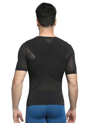 Slimming Stomach Black Crew Neck Men's Shaper X-Shape Crossover Tummy Trimmer