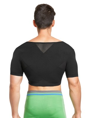 Sensational Black Short Sleeves Crop Male Shaper Top Natural Shaping