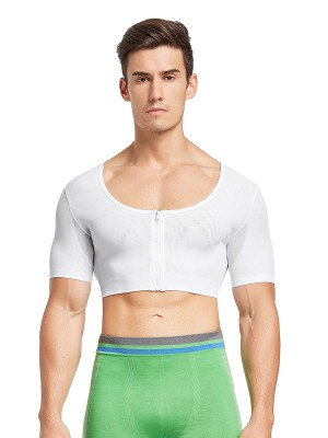 Well-Suited White Mesh Zipper Mens Cropped Shapewear Figure Shaping